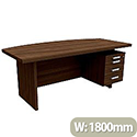 Grand Executive Office Desk With Right Side Drawers 1800mm Dark Walnut