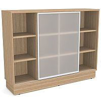 Grand Medium Cube Shelf Bookcase With Sliding Frosted Glass Door Marbella