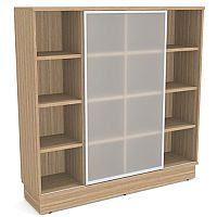 Grand Tall Cube Shelf Bookcase With Sliding Frosted Glass Door Marbella