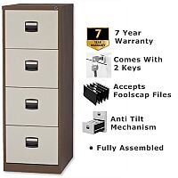 4 Drawer Steel Filing Cabinet Lockable Brown & Cream Trexus By Bisley