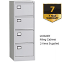 4 Drawer Filing Cabinet Grey Steel Trexus
