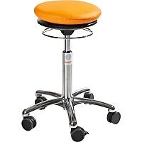 Pilates Air-Seat Ergonomic Stool With Orange Leather Look Seat Upholstery H450 - 640mm