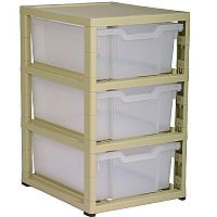 Gratstack 3 Deep Tray Unit - Beige Unit, Translucent Trays
