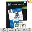 Hewlett Packard No 933XL OfficeJet Value Pack Inkjet Cartridge CMY with Paper A4 75 Sheets CR711AE