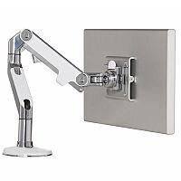 Humanscale M8 Monitor Arm Polished Aluminium With White Trim VESA Mount Compatible