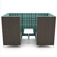 Meeting Pod HUDDLE CAVE With Grey Exterior & Green Tartan Fabric Interior