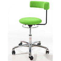 Saturn Ergonomic Stool With 360° Swivel Back-Arm Rest Imitation Leather Green H490 - 680mm