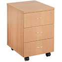 Jemini 3-Drawer Mobile Pedestal Beech KF72084