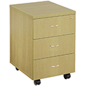 Jemini 3-Drawer Mobile Pedestal Oak KF72085