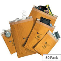 Jiffy Assorted Sizes Gold AirKraft Bubble Lined Protective Envelopes Bag Pack of 50