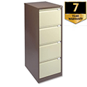4 Drawer Steel Filing Cabinet Flush Front Brown & Cream Bisley BS4E