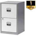 2 Drawer Steel  Filing Cabinet A4 Lockable Silver and White Trexus SoHo