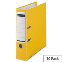 Leitz 180 Polypropylene A4 80mm Yellow Lever Arch File Pack of 10