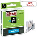 Dymo D1 Tape 45015 12mm x 7m Red on White S0720550