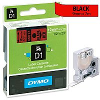 Dymo D1 Tape 45017 12mm x 7m Black on Red S0720570