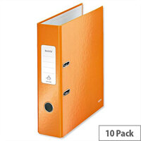 Leitz 180 Wow 80mm Metallic Orange A4 Lever Arch File Pack of 10