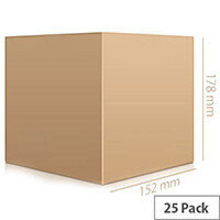Single Wall 152x152x178mm Brown CorrugatedP acking Cardboard Boxes (25 Pack) Ref SC-02