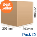 Pack 25 Ambassador Packing Box Carton Single Wall Strong Flat-packed 203x203x203mm Ref SC-05 Pack 25 307418