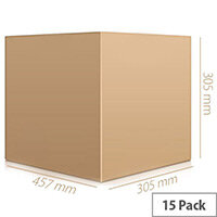 Double Wall 457x305x305mm Brown Corrugated Dispatch Packing Cardboard Boxes (Pack of 15)
