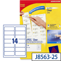 Avery J8563-25 Clear Address Labels 14 per Sheet 99.1x38.1mm