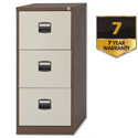 3 Drawer Steel Filing Cabinet Lockable Brown and Cream Trexus