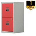 2 Drawer Steel Filing Cabinet A4 Lockable Grey and Red Trexus