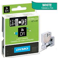 Dymo D1 Tape 45021 12mm x 7m White on Black S0720610