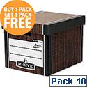 Fellowes Bankers Box Premium 725 Classic Archive Storage Box Woodgrain Pack 10
