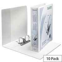 Leitz Presentation Lever Arch File 180 Degree Opening 80mm Spine A4 White Pack of 10