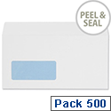 5 Star Office Envelopes Wallet Peel and Seal Window White DL [Pack 500]