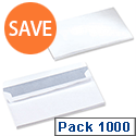 5 Star 90gsm Envelopes DL White Wallet Press Seal Pack 1000