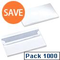 5 Star 90gsm Envelopes DL White Wallet Press Seal Pack 1000