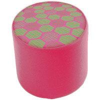 Link Radius Circular Stool Pink - Fully Upholstered in Durable 2 Tone Fabric, Part of LINK Modular Soft Seating Range