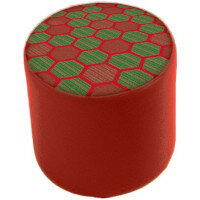 Link Radius Circular Stool Red - Fully Upholstered in Durable 2 Tone Fabric, Part of LINK Modular Soft Seating Range