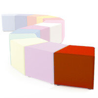 Link Segment Angled Cube Stool Orange - Fully Upholstered in Durable Fabric, Part of LINK Modular Soft Seating Range