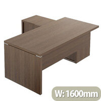 Quando Executive Desk 1600 x 900mm + Universal Credenza Return Unit - Chestnut