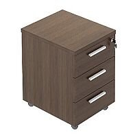 Quando Pedestal Full Metal Drawers - Chestnut