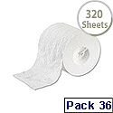 2Work Dispenser Toilet Roll 2-Ply 320 Sheet Pack of 36 T23002