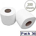 2Work Dispenser Toilet Roll 2-Ply 200 Sheet Pack of 36 T22006