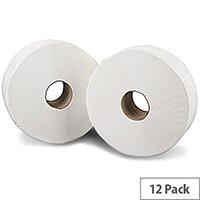 2Work Mini Jumbo 60mm Core Dispenser Dispenser Toilet Paper Rolls Refills Roll 2-Ply 200m White Pack of 12 J26200
