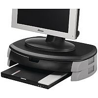 Q-Connect Monitor/Printer Stand/Drawer Black