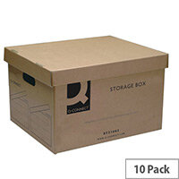 Archive Brown Storage Boxes 335 x 400 x 250mm Q Connect 10 Pack - Removable lid protects contents from damage - Economy archive storage box