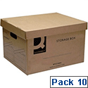 Archive Brown Storage Boxes 335 x 400 x 250mm Q Connect 10 Pack KF21665