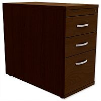 Filing Pedestal Desk-High 3-Drawer 800mm Deep Dark Walnut Kito
