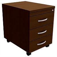 Mobile 3-Drawer Pedestal Dark Walnut Kito