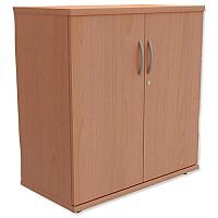 Low Cupboard with Lockable Doors W800xD420xH770mm Beech Kito