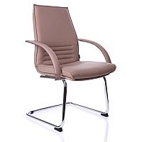 Integra Beige Leather Meeting Room Chair Mid Back on Sled Base