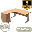 Komo Crescent Left Hand Desk With Desk High Pedestal Beech