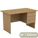 Kontrax Beech Desk With 3 Drawers (Right) W x H x D: 1200 x 725 x 700mm KTX1270FX3R