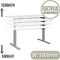 LEAP Electric Height Adjustable Sit Stand Desk W1600 x D800 x H630-1230 White